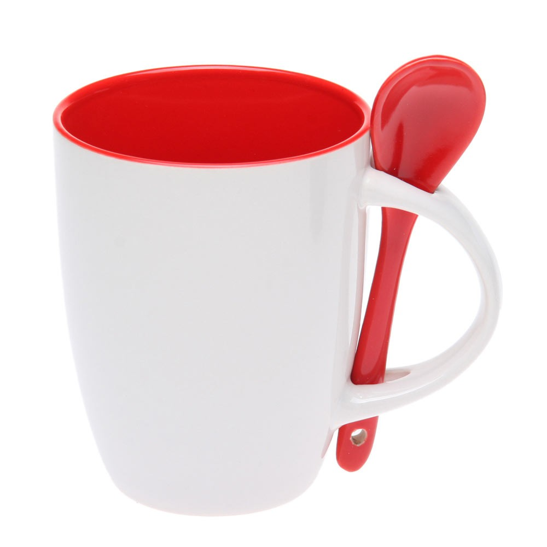 Чашка с ложкой 882102 красная